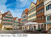 Historical houses of Market Square in Tubingen, Germany. Стоковое фото, фотограф Zoonar.com/Boris Breytman / easy Fotostock / Фотобанк Лори