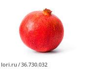 Big ripe pomegranate isolated on white background. Стоковое фото, фотограф Zoonar.com/Nikolai Sorokin / easy Fotostock / Фотобанк Лори