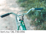 Closeup picture of a vintage bicycle handlebar and breaks outdoors... Стоковое фото, фотограф Zoonar.com/Patrick Daxenbichler / easy Fotostock / Фотобанк Лори