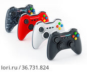 Generic game controllers isolated on white background. 3D illustration... Стоковое фото, фотограф Zoonar.com/Cigdem Simsek / easy Fotostock / Фотобанк Лори