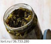 Marinated chard in glass jar. Стоковое фото, фотограф Яков Филимонов / Фотобанк Лори