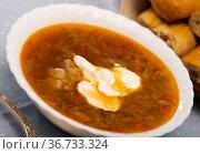 Russian-style cabbage soup Shchi of pork broth with boiled vegetables. Стоковое фото, фотограф Яков Филимонов / Фотобанк Лори