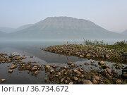 Плато Путорана, туман над озером Собачьим. Стоковое фото, фотограф Сергей Дрозд / Фотобанк Лори