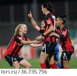 Leverkusen, Germany, 08/10/2021, Flyeralarm Frauen Bundesliga, Matchday... Редакционное фото, фотограф Juergen Schwarz / age Fotostock / Фотобанк Лори