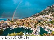 Yachts moored near city Pier, Jetty In Sunny Summer Day. Monaco, Monte... Стоковое фото, фотограф Ryhor Bruyeu / easy Fotostock / Фотобанк Лори