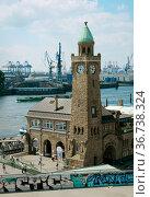 """Pegelturm, city view harbor Hamburg, Germany, Europe"" Редакционное фото, агентство Caro Photoagency / Фотобанк Лори"