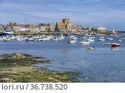 Stadtansicht mit mit Hafen und Kirche St-Nicolas in Barfleur, Normandie... Стоковое фото, фотограф Peter Schickert / age Fotostock / Фотобанк Лори