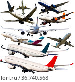 Set of passenger airliners isolated. Стоковое фото, фотограф Яков Филимонов / Фотобанк Лори