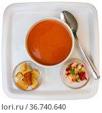 Gazpacho in glass spanish tomato based cold vegetable soup served with cucumbers. Стоковое фото, фотограф Яков Филимонов / Фотобанк Лори
