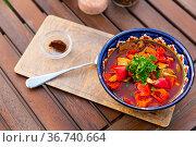 Portion of Uyghur laghman served in soup bowl. Стоковое фото, фотограф Яков Филимонов / Фотобанк Лори