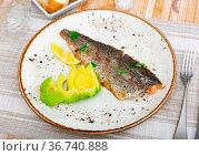 Plate with fried trout fillet with avocado in restaurante closeup. Стоковое фото, фотограф Яков Филимонов / Фотобанк Лори