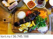 Turkish Kebab eggplant and meatballs. Freshly grilled eggplant Kebabs. Стоковое фото, фотограф Яков Филимонов / Фотобанк Лори
