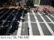 Participants pass through the Perseverancia neighborhood during the... Редакционное фото, фотограф Chepa Beltran / age Fotostock / Фотобанк Лори
