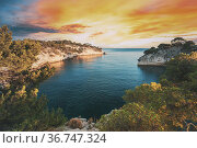 Cassis, Calanques, France. French Riviera. Beautiful Nature Of Cote... Стоковое фото, фотограф Ryhor Bruyeu / easy Fotostock / Фотобанк Лори
