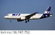 F-GKXI Air France Airbus A320-200 landing at Barcelona Airport (2020 год). Редакционное фото, фотограф Яков Филимонов / Фотобанк Лори
