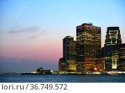 Skyscrapers of Southernmost tip of Manhattan at night, New York City. USA. Стоковое фото, фотограф Валерия Попова / Фотобанк Лори