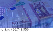 Image of financial data processing over euro currency banknotes. Стоковое фото, агентство Wavebreak Media / Фотобанк Лори