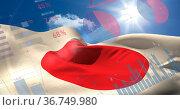 Image of financial statistics recording over flag of japan waving. Стоковое фото, агентство Wavebreak Media / Фотобанк Лори