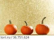 Three Pumpkins on golden background. Стоковое фото, фотограф Иван Михайлов / Фотобанк Лори