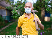Old man in mask standing in backyard with shovel in hand. Стоковое фото, фотограф Татьяна Яцевич / Фотобанк Лори