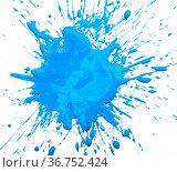 Blue acrylic paint blot. Стоковое фото, фотограф Яков Филимонов / Фотобанк Лори