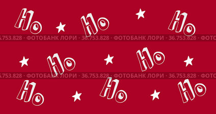 Multiple Ho text and stars moving against red background