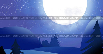 Silhouette of Santa Claus in sleigh being pulled by reindeers against moon and winter landscape