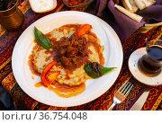 Hunkar begendi. Turkish braised lamb and eggplant. Стоковое фото, фотограф Яков Филимонов / Фотобанк Лори
