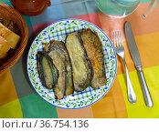 Nutritious stuffed eggplant with ham. Стоковое фото, фотограф Яков Филимонов / Фотобанк Лори