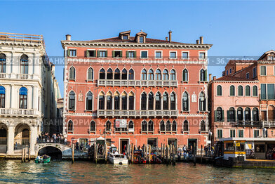 View of the Grand Canal embankment with the Palazzo Cavalli-Franchetti building. Institute of Sciences, Literature and Art. Venice, Italy