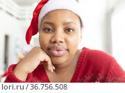 Happy african american plus size woman in santa hat making christmas video call on laptop. Стоковое фото, агентство Wavebreak Media / Фотобанк Лори