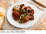 Portion of pork shashlyk with onion and lavash. Стоковое фото, фотограф Яков Филимонов / Фотобанк Лори