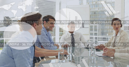 Graphs and people in an office 4k