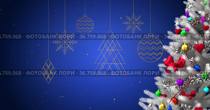 Image of christmas tree with decorations over baubles and snow falling on blue background