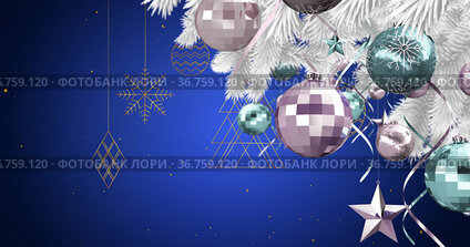 Image of christmas tree with baubles over christmas decorations on blue background