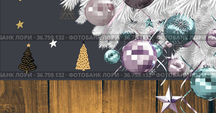 Image of christmas tree with decorations over trees on black background