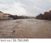 River Po flood in Turin city centre, Italy. Стоковое фото, фотограф Zoonar.com/Claudio Divizia / easy Fotostock / Фотобанк Лори
