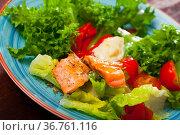 Grilled trout with vegetables. Стоковое фото, фотограф Яков Филимонов / Фотобанк Лори