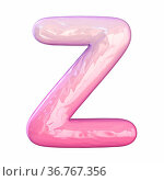 Pink latex glossy font Letter Z 3D rendering illustration isolated... Стоковое фото, фотограф Zoonar.com/Milic Djurovic / easy Fotostock / Фотобанк Лори