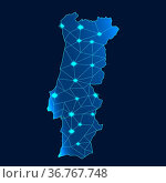 Map of Portugal with blue background. 3d rendering. Стоковое фото, фотограф Zoonar.com/Yann Tang / easy Fotostock / Фотобанк Лори