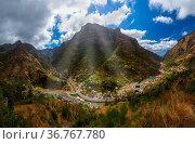 Mountain village Serra de Aqua in Madeira Portugal - travel background. Стоковое фото, фотограф Zoonar.com/Nikolai Sorokin / easy Fotostock / Фотобанк Лори