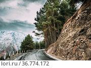 Stepantsminda, Georgia. New Beautiful Asphalt Mountains Road Landscape... Стоковое фото, фотограф Ryhor Bruyeu / easy Fotostock / Фотобанк Лори