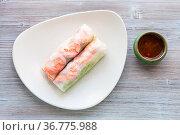 Top view of served Nem cuon (fresh Vietnamese nem roll with shrimps... Стоковое фото, фотограф Zoonar.com/Valery Voennyy / easy Fotostock / Фотобанк Лори