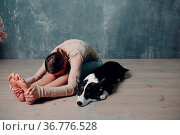 Young adult woman doing yoga with corgi dog at home indoors. Стоковое фото, фотограф Zoonar.com/Max / easy Fotostock / Фотобанк Лори