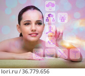 Woman in spa pressing buttons. Стоковое фото, фотограф Elnur / Фотобанк Лори