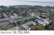 Aerial view of the city of Galich. Kostroma region. Russia. Стоковое видео, видеограф Яков Филимонов / Фотобанк Лори