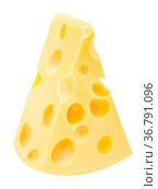 Swiss or Dutch Cheese with holes, an wedge or sector, isolated. Стоковое фото, фотограф Zoonar.com/Max Tat / easy Fotostock / Фотобанк Лори