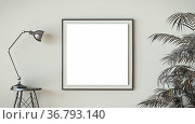 Mock up blank picture frame black lamp and black tropical leafs 3D... Стоковое фото, фотограф Zoonar.com/Milic Djurovic / easy Fotostock / Фотобанк Лори