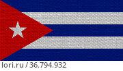 The Cuban national flag of Cuba, America with fabric texture. Стоковое фото, фотограф Zoonar.com/Claudio Divizia / easy Fotostock / Фотобанк Лори