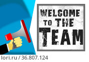 Welcome to the team word with megaphone icon, 3D rendering. Стоковое фото, фотограф Zoonar.com/Yann Tang / easy Fotostock / Фотобанк Лори